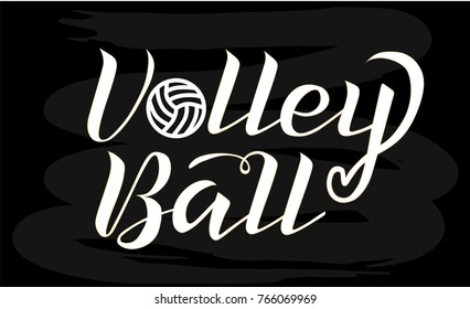 Volleyball white lettering on chalkboard background, vector illustration. Volleyball calligraphy. Sport, fitness, activity vector design. Print for logo, T-shirt, flag, banner, postcards, logotype.