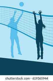 Volleyball woman player abstract vector background with net