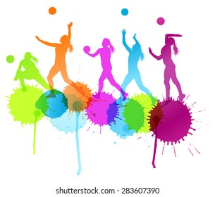 Volleyball woman player vector background concept with color splashes