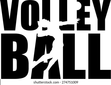 Volleyball Word with player