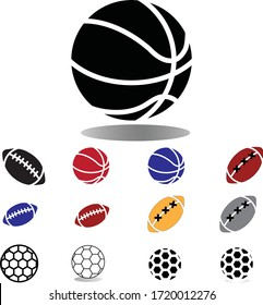 volleyball,rugger ball & foot ball icon - vector illustration.