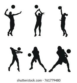 Volly ball team work event vector silhouette design logo illustration