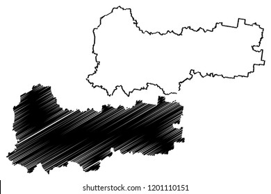 Vologda Oblast (Russia, Subjects of the Russian Federation, Oblasts of Russia) map vector illustration, scribble sketch Vologda Oblast map