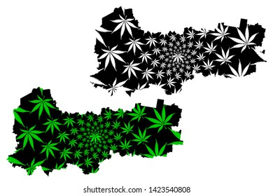 Vologda Oblast (Russia, Subjects of the Russian Federation, Oblasts of Russia) map is designed cannabis leaf green and black, Vologda Oblast map made of marijuana (marihuana,THC) foliage,