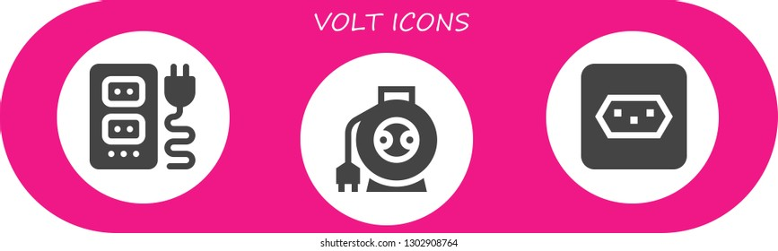 volt icon set. 3 filled volt icons.  Simple modern icons about  - Socket, Wire