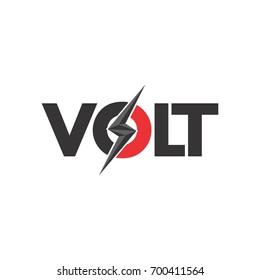 VOLT letter with lightning storm logo design vector