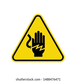 Voltage Hand Shock  Sign Isolated On White Background. ISO Triangle Warning Symbol Simple, Flat Vector, Icon You Can Use Your Website Design, Mobile App Or Industrial Design. Vector Illustration