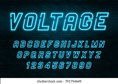 Voltage neon light alphabet, realistic extra glowing font with brick wall background. Exclusive swatch color control.