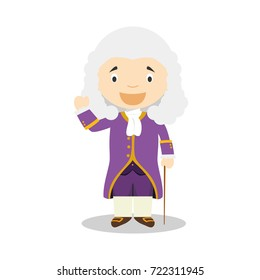 Voltaire cartoon character. Vector Illustration. Kids History Collection.