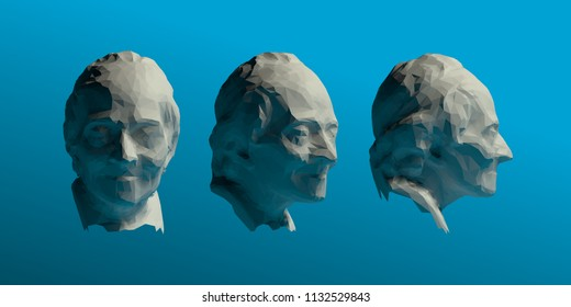 Voltaire Head Vector 3D Rendering