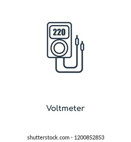 Voltmeter concept line icon. Linear Voltmeter concept outline symbol design. This simple element illustration can be used for web and mobile UI/UX.