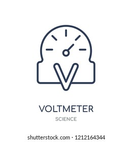 Voltmeter icon. Voltmeter linear symbol design from Science collection. Simple outline element vector illustration on white background.