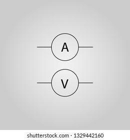 Voltmeter icon. Trendy linear Voltmeter logo concept on transparent background from Science collection