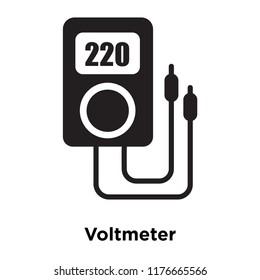 Voltmeter icon vector isolated on white background, logo concept of Voltmeter sign on transparent background, filled black symbol