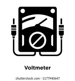 Voltmeter icon vector isolated on white background, logo concept of Voltmeter sign on transparent background, filled black symbol