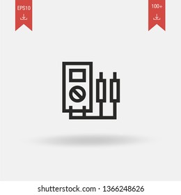 Voltmeter linear vector icon. Modern outline Voltmeter logo concept from Car Repair collection. Suitable for use on web apps, mobile apps and print media.