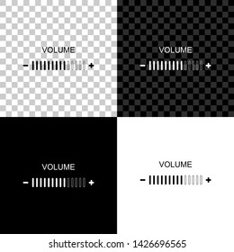 Volume adjustment icon isolated on black, white and transparent background. Vector Illustration