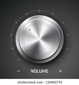 Volume button (music knob) with metal texture (steel, chrome), scale and dark background. Vector illustration.