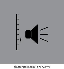 Volume control icon, sound power slider vector illustration