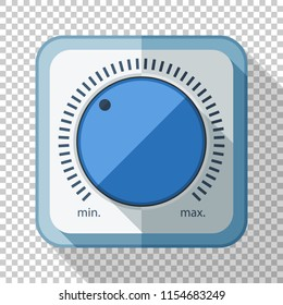 Volume control or volume knob icon in flat style with long shadow on transparent background