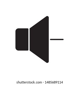 Volume down icon. Speaker minus flat simple pictogram. Sound low vector illustration