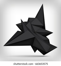 Volume geometric shape, 3d levitation black crystal, creative low polygons dark object, vector design form