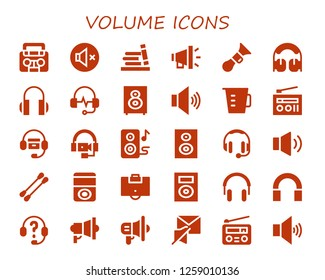 volume icon set. 30 filled volume icons. Simple modern icons about  - Radio, Mute, Bookshelf, Megaphone, Horn, Headphones, Loudspeaker, Volume, Measuring cup, Speakers, Subwoofer