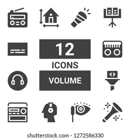volume icon set. Collection of 12 filled volume icons included Horn, Mascara, Headphones, Radio, Filter, Headphone, Dimension, Music stand, Subtitles