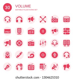 volume icon set. Collection of 30 filled volume icons included Headphones, Megaphone, Earbuds, Radio, Subtitles, Announcer, Pause, Controls, Levels, Level, Horn, Recording, Slider