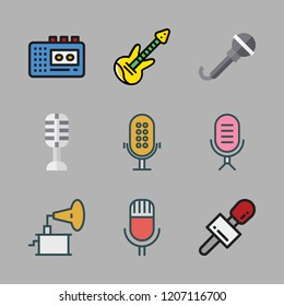 volume icon set. vector set about phonograph, electric guitar, walkman and microphone icons set.