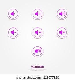 Volume icons set | Plus, minus, mute icons