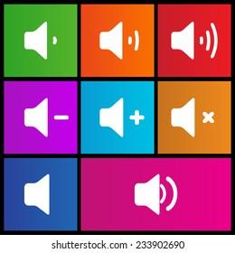 Volume icons set | Plus, minus, mute icons. Metro style