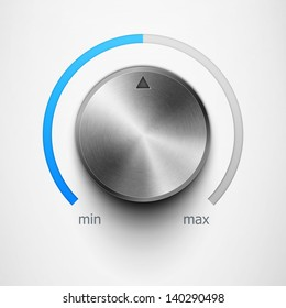volume knob with metal texture and blue scale eps10