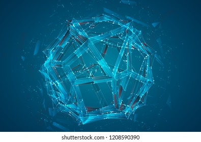 a volume luminous sphere on a dark background. abstract vector object. virtual ball hanging in the air