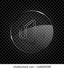 volume medium icon. Icon in circle glass bubble on dark transparent grid. Glass style