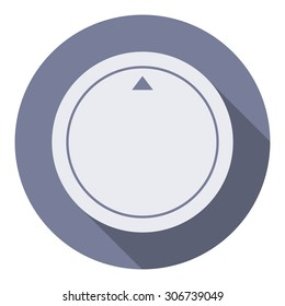 Volume music control knob icon, modern minimal flat design style. Vector illustration with long shadow, user interface round button. Dial knob UI element.