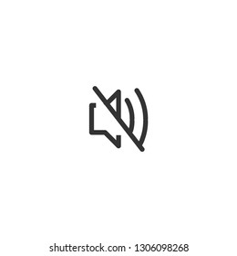 Volume mute icon. Audio sound sign