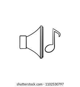 Volume on hand drawn outline doodle icon. Loudspeaker with note as ringtone and playing music concept vector sketch illustration for print, web, mobile and infographics isolated on white background.