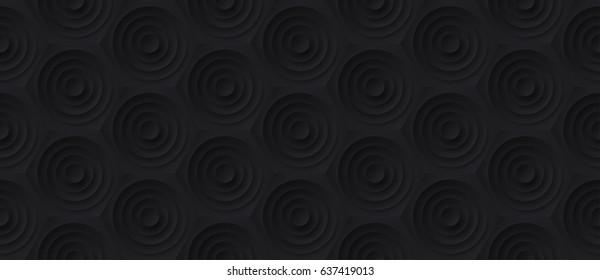 Volume realistic embossing texture, circles cut in honeycomb, black background, 3d geometric seamless pattern, design vector dark wallpaper