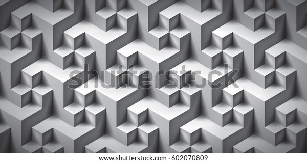 Volume Realistic Unreal Texture Gray Cubes Stock Vector