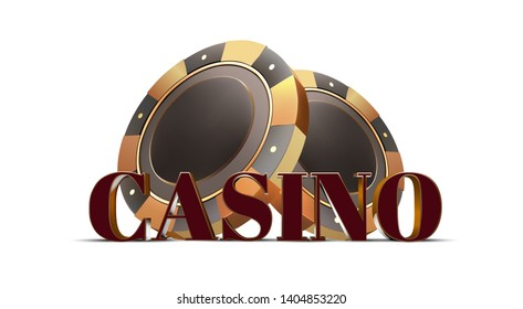 Volume red and gold casino text with black and gold casino chips on a white background. 3c effect. Vector.