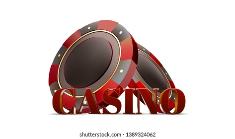 Volume red-gold casino text with red-gold casino chips on a white background. 3c effect. Vector.