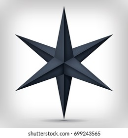 Volume six-pointed black star, 3d object, geometry dark crystal shape, mesh version, abstract vector