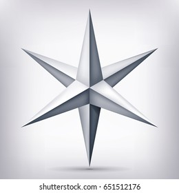 Volume six-pointed gray star, 3d object, geometry crystal shape, mesh version, abstract vector