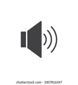 Volume up sound icon vector, filled flat sign, solid pictogram isolated on white. Megaphone speaker symbol, logo illustration.
