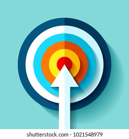 Volume Target icon in flat style on color background. White Arrow in the center aim. Vector design element for you business projects
