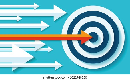 Volume Target icon in flat style on color background. Orange Arrow in the center aim. Vector design element for you business projects