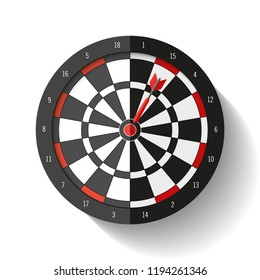 Volume Target icon in flat style on white background. Darts game. Arrow in the center aim. Vector design element for you business projects