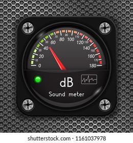 Volume unit meter. Decibel gauge. Sound audio equipment on metal perforated background. Vector 3d illustration
