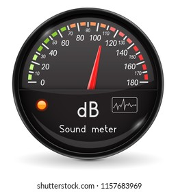 Volume unit meter. Sound audio equipment. Black glass gauge with chrome frame. Vector 3d illustration isolated on white background